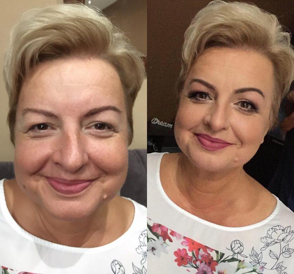 kurze-alte-Frau-des-blonden-Haares